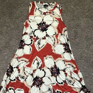 The Limited orange floral sleeveless swing dress